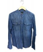 ARMANI EXCHANGE(アルマーニエクスチェンジ)の古着「バンドカラーシャツ」|インディゴ