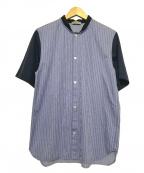 Casely-Hayford(ケイスリーヘイフォード)の古着「切替半袖シャツ」|ネイビー×ブルー