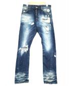 DSQUARED2(ディースクエアード)の古着「クラッシュ加工デニムパンツ」 インディゴ