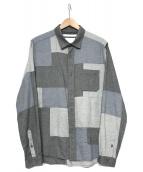 WHITE MOUNTAINEERING(ホワイトマウンテニアリング)の古着「パッチワークシャツ」|グレー×ホワイト