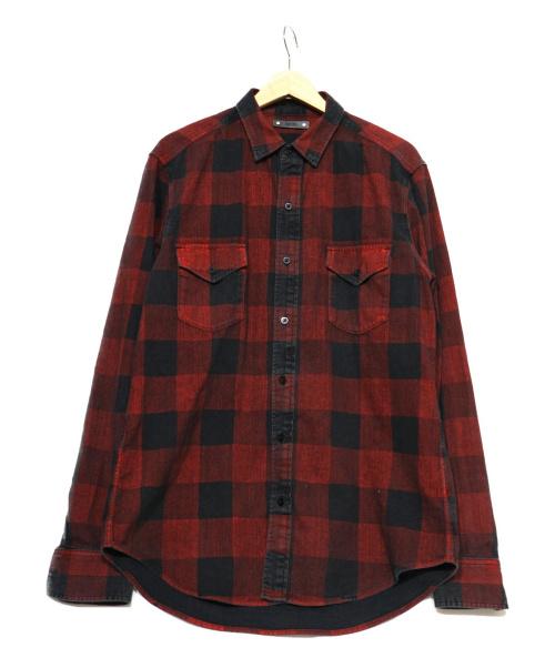 MINEDENIM(マインデニム)MINEDENIM (マインデニム) チェックシャツ レッド サイズ:表記3の古着・服飾アイテム