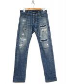 ADRIANO GOLDSCHMIED(アドリアーノゴールドシュミッド)の古着「ダメージ加工デニムパンツ」|ブルー
