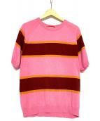 SUPREME(シュプリーム)の古着「ニットストライプショートスリーブラガントップ」|ピンク×ブラウン