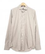 Bagutta(バグッタ)の古着「ストライプシャツ」|ホワイト×ブラウン