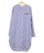 Shinzone(シンゾーン)の古着「バンドカラーシャツワンピース」 ホワイト×ブルー