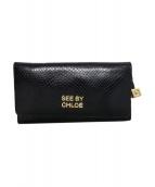 SEE BY CHLOE(シーバイクロエ)の古着「型押し長財布」|ブラック