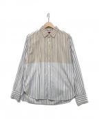 BRU NA BOINNE(ブルーナボイン)の古着「バイカラーストライプシャツ」|ホワイト×ブルー