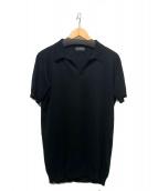 JOHN SMEDLEY(ジョンスメドレー)の古着「ニットポロシャツ」 ブラック