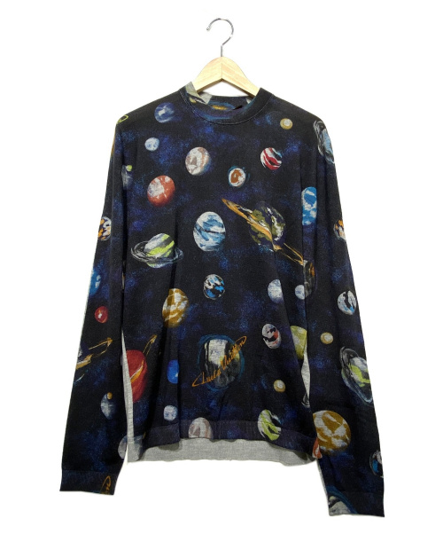 LOUIS VUITTON(ルイヴィトン)LOUIS VUITTON (ルイヴィトン) ギャラクシーシルク混ニット ネイビー サイズ:Lの古着・服飾アイテム