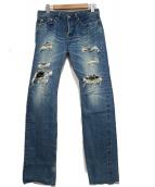 Hysteric Glamour(ヒステリックグラマー)の古着「ダメージデニムパンツ」|ブルー
