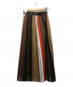 Loungedress(ラウンジドレス)の古着「MIXストライププリーツスカート」 レッド×ブラウン