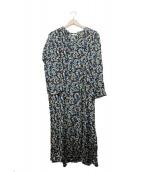 SOULEIADO(ソレイアード)の古着「シルク総柄ワンピース」|ブラック×ブルー