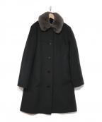 AMACA(アマカ)の古着「襟ファーコート」 ブラック