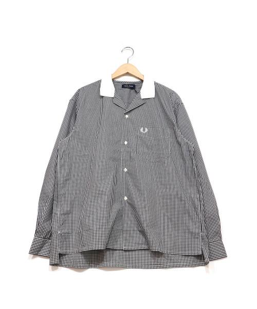 FRED PERRY(フレッドペリー)FRED PERRY (フレッドペリー) オープンカラーシャツ ホワイト×ブラック サイズ:M 未使用品 チェックの古着・服飾アイテム