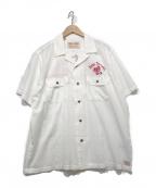DEUS EX MACHINA(デウス エクス マキナ)の古着「オープンカラーシャツ」|ホワイト×レッド