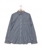 LACOSTE(ラコステ)の古着「長袖ストライプニットシャツ」|ネイビー