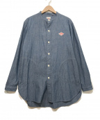 DANTON()の古着「バンドカラーシャツ」 ブルー