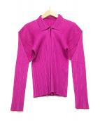 PLEATS PLEASE(プリーツプリーズ)の古着「プリーツプルオーバーシャツ」|ショッキングピンク
