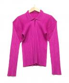 PLEATS PLEASE(プリーツプリーズ)の古着「プリーツプルオーバーシャツ」 ショッキングピンク