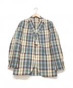 LARDINI(ラルディーニ)の古着「テーラードジャケット」 スカイブルー×ブラウン