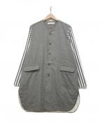 ETHOSENS(エトセンス)の古着「ノーカラー切替ジャケット」|グレー