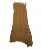 UNFIL(アンフィル)の古着「アシンメトリーニットスカート」|ブラウン