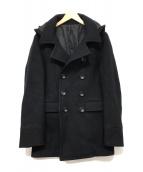 ()の古着「HOOD MID P-COAT」 ブラック