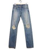 Rags McGREGOR(ラグス マクレガー)の古着「ダメージ加工デニムパンツ」|インディゴ