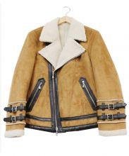 GUILD PRIME(ギルドプライム)の古着「フェイクムートンライダースジャケット」|ブラウン