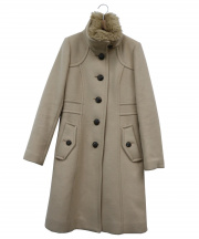 BLUE LABEL CRESTBRIDGE(ブルーレーベルクレストブリッジ)の古着「ラビットファースタンドカラーコート」|ベージュ