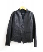 pas de calais(パドカレ)の古着「カラーレスカットオフレザージャケット」|ブラック