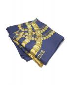 HERMES(エルメス)の古着「シルクスカーフ」|ブルー×ゴールド