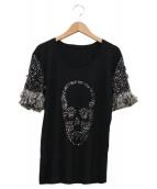 Lucien pellat-finet(ルシアンペラフィネ)の古着「スカルスパンコールカットソー」|ブラック
