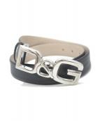 D&G(ディーアンドジ)の古着「ロゴバックルレザーベルト」|ブラック