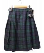 ONEIL OF DUBLIN(オニール オブ ダブリン)の古着「キルトウールスカート」|グリーン
