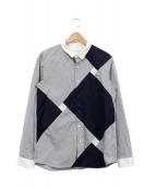 ETHOSENS(エトセンス)の古着「クレリックパネルシャツ」|グレー×ネイビー