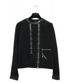 LOUIS VUITTON(ルイヴィトン)の古着「ノーカラージャージージャケット」|ブラック