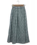 SACRA(サクラ)の古着「イレギュラーグリッドスカート」|グリーン