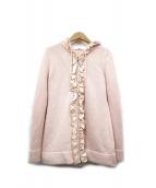 Rene(ルネ)の古着「フリル装飾ニットパーカー」|ピンク