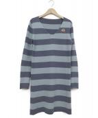 Lucien pellat-finet(ルシアンペラフィネ)の古着「カシミヤニットワンピース」|ブルー×ネイビー