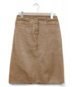 CELINE(セリーヌ)の古着「ラムレザースカート」|ブラウン