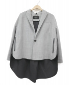 THE RERACS(ザ リラクス)の古着「LONG TAIL PEAKED PIPING JACKET」|グレー