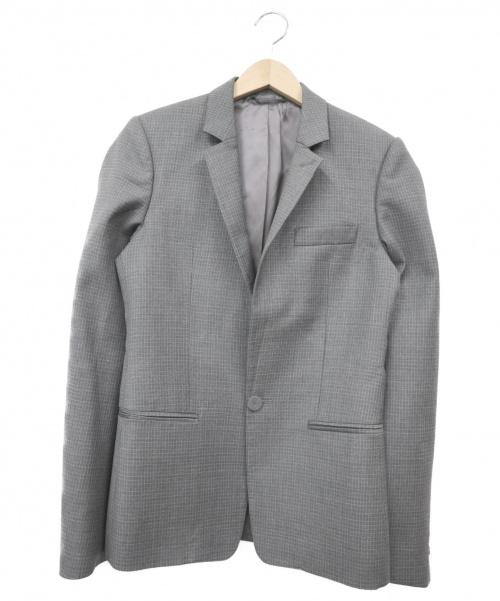 BALENCIAGA(バレンシアガ)BALENCIAGA (バレンシアガ) テーラードジャケット グレー サイズ:44 チェックの古着・服飾アイテム