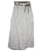 MaxMara(マックスマーラ)の古着「リネンラップスカート」|ホワイト
