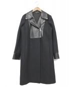 GUCCI(グッチ)の古着「ラムレザー切替メルトンコート」|ブラック