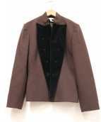 Christian Dior(クリスチャン ディオール)の古着「ベロア切替ナポレンジャケット」|ブラウン