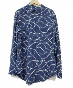 EQUIPMENT(エキップモン)の古着「ワイドシルエットシルクシャツ」 ネイビー