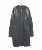 DIESEL(ディーゼル)の古着「ラムレザー切替ジップアップスウェットコート」|ブラック