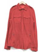 Salvatore Ferragamo(サルヴァトーレフェラガモ)の古着「スウェードレザーシャツ」|レッド