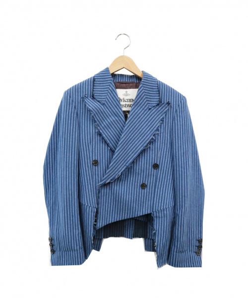 Vivienne Westwood(ヴィヴィアンウエストウッド)Vivienne Westwood (ヴィヴィアンウエストウッド) ダブルジャケット ブルー サイズ:38 イタリア製の古着・服飾アイテム